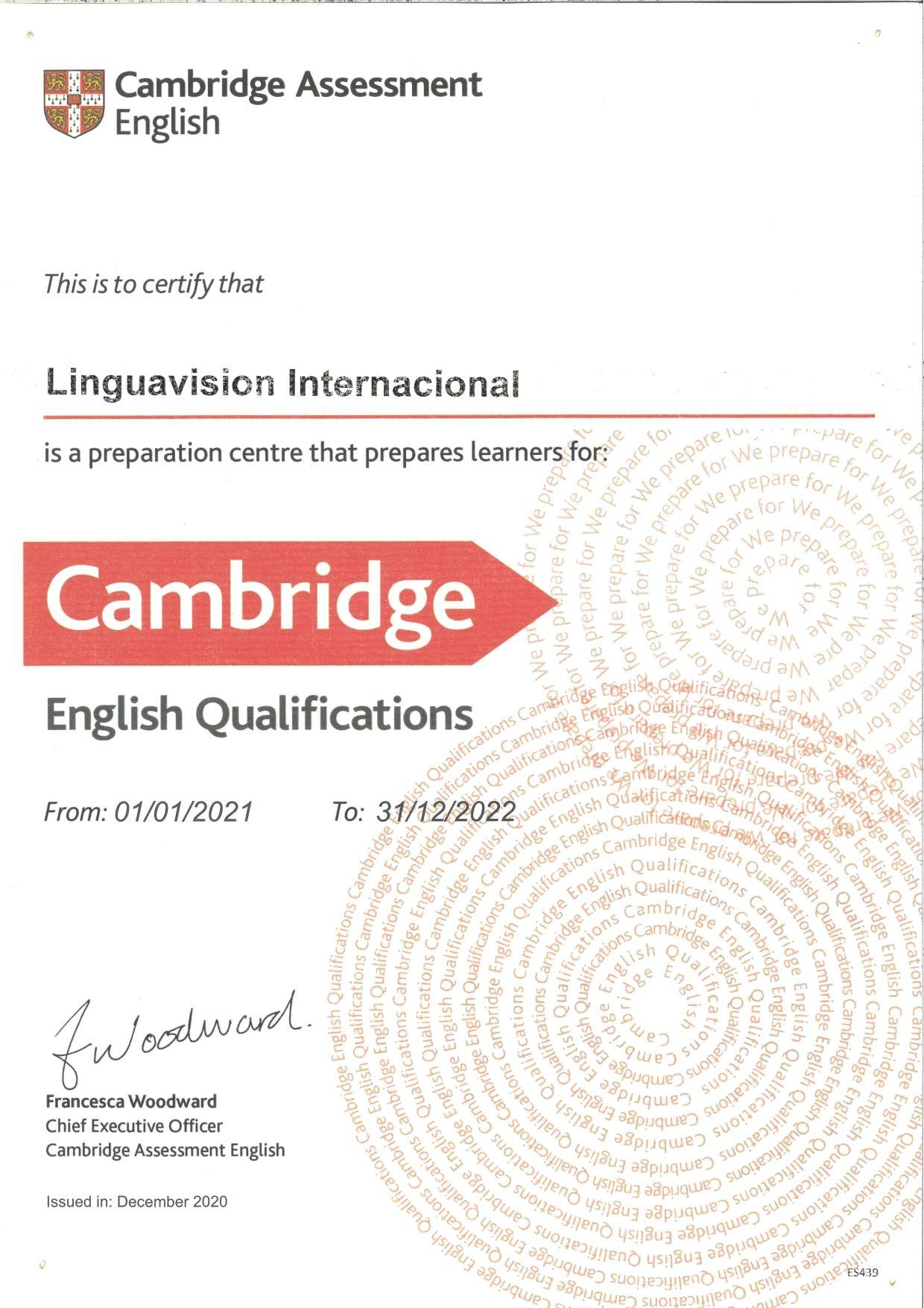 Certificación academia cambridge Badalona